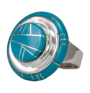 Navajo Native American Sleeping Beauty Turquoise Ring Size 8 1/2 by Calvin Begay SKU231410