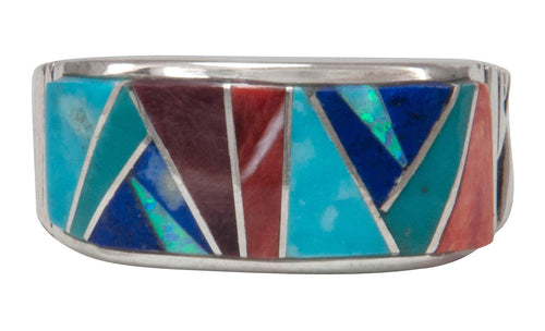 Navajo Native American Turquoise and Lapis Inlay Ring Size 11 3/4 by Calvin Begay SKU231416