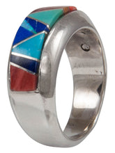 Load image into Gallery viewer, Navajo Native American Turquoise and Lapis Inlay Ring Size 7 3/4 by Calvin Begay SKU231421