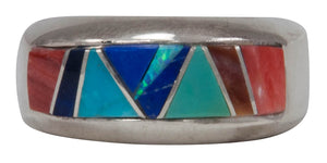 Navajo Native American Turquoise and Lapis Inlay Ring Size 7 3/4 by Calvin Begay SKU231421