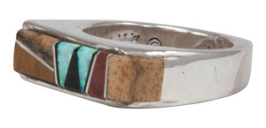 Navajo Native American Tiger Eye and Lab Opal Inlay Ring Size 6 by Calvin Begay SKU231425