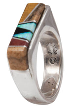 Load image into Gallery viewer, Navajo Native American Tiger Eye and Lab Opal Inlay Ring Size 6 by Calvin Begay SKU231425