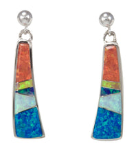 Load image into Gallery viewer, Navajo Native American Created Opal Inlay Earrings by Calvin Begay SKU231443