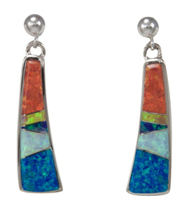 Navajo Native American Created Opal Inlay Earrings by Calvin Begay SKU231443