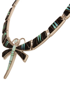 Navajo Native American Lab Opal and Jet Dragonfly Necklace by Calvin Begay SKU231460