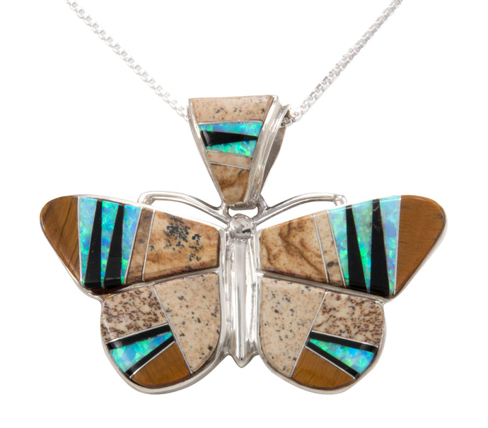 Navajo Native American Lab Opal and Tiger Eye Inlay Butterfly Pendant Necklace by Calvin Begay SKU231464