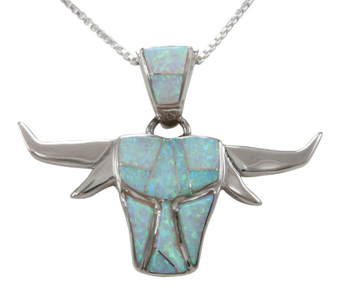 Navajo Native American Lap Opal Inlay Steer Pendant Necklace by Calvin Begay SKU231473