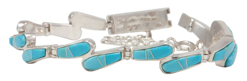 Navajo Native American Sleeping Beauty Turquoise Inlay Link Bracelet by Calvin Begay SKU231485