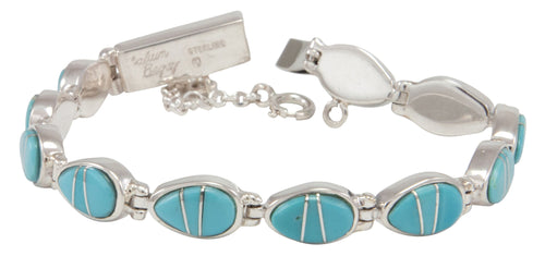 Navajo Native American Sleeping Beauty Turquoise Inlay Link Bracelet by Calvin Begay SKU231486