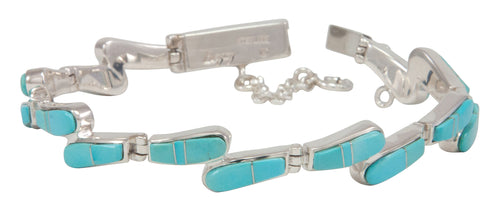 Navajo Native American Sleeping Beauty Turquoise Inlay Link Bracelet by Calvin Begay SKU231487