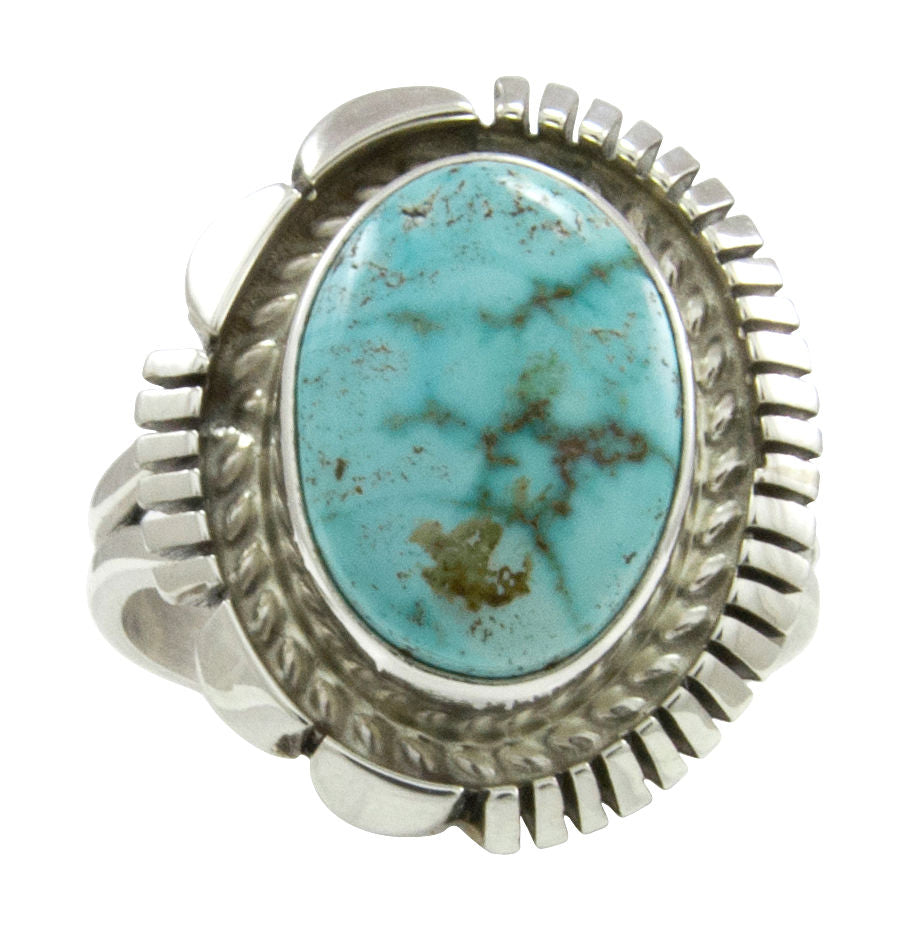 Navajo Native American Kingman Turquoise Ring Size 8 SKU231494