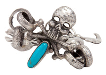 Load image into Gallery viewer, Navajo Native American Turquoise Skull and Crossbones Link Bracelet by Everett Jones