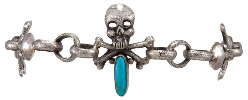 Navajo Native American Turquoise Skull and Crossbones Link Bracelet by Everett Jones SKU231507