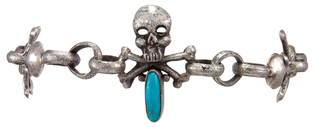 Navajo Native American Turquoise Skull and Crossbones Link Bracelet by Everett Jones