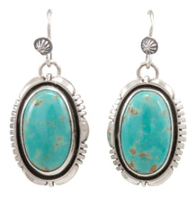 Load image into Gallery viewer, Navajo Native American Mine Number 8 Turquoise Earrings by Jimmy Secatero SKU231521