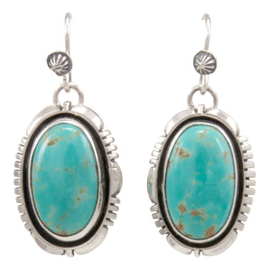 Navajo Native American Mine Number 8 Turquoise Earrings by Jimmy Secatero SKU231521