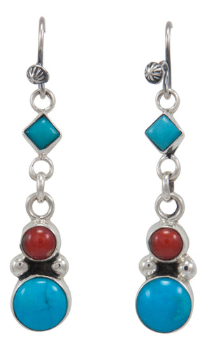 Navajo Native American Sleeping Beauty Turquoise and Coral Earrings by Martha Willeto SKU231560