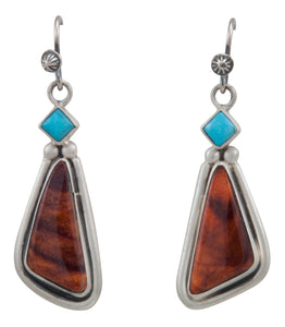 Navajo Native American Sleeping Beauty Turquoise and Spiny Oyster Shell Earrings by Martha Willeto SKU231563