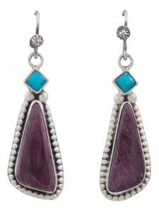 Navajo Native American Sleeping Beauty Turquoise and Spiny Oyster Shell Earrings by Martha Willeto SKU231564