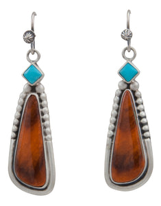 Navajo Native American Sleeping Beauty Turquoise and Spiny Oyster Shell Earrings by Martha Willeto SKU231566