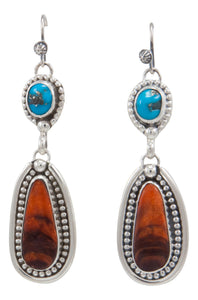 Navajo Native American Sleeping Beauty Turquoise and Spiny Oyster Shell Earrings by Martha Willeto SKU231567