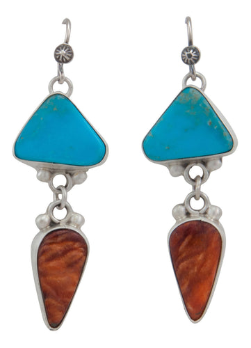 Navajo Native American Kingman Turquoise and Spiny Oyster Shell Earrings by Martha Willeto SKU231573