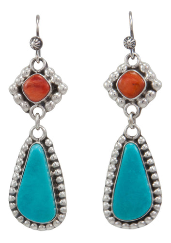 Navajo Native American Turquoise Mountain and Orange Shell Earrings by Willeto SKU231575