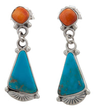Load image into Gallery viewer, Navajo Native American Turquoise Mountain and Orange Shell Earrings by Willeto SKU231577