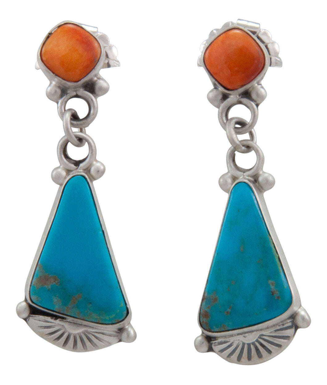 Navajo Native American Turquoise Mountain and Orange Shell Earrings by Willeto SKU231577