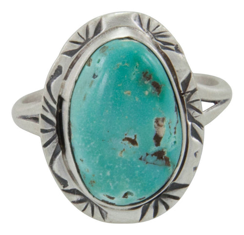 Navajo Native American Tyrone District Turquoise Ring Size 6 1/2 by Willeto SKU231583