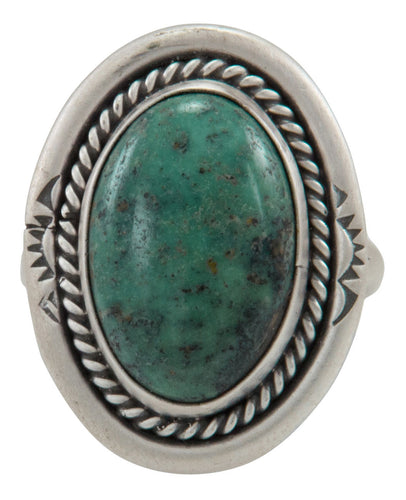 Navajo Native American Hubei Turquoise Ring Size 7 1/2 by Willeto SKU231585