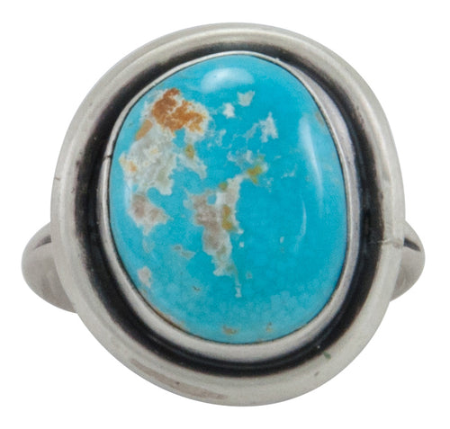 Navajo Native American Pilot Mountain Turquoise Ring Size 9 by Willeto SKU231588
