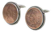 Load image into Gallery viewer, Navajo Native American Indian Head Penny Cuff Links by Willeto SKU231613