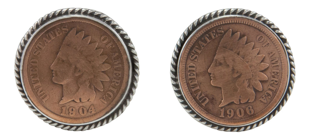 Navajo Native American Indian Head Penny Cuff Links by Willeto SKU231613