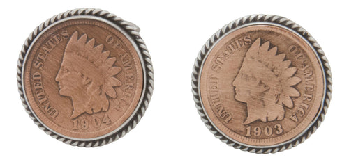 Navajo Native American Indian Head Penny Cuff Links by Willeto SKU231614
