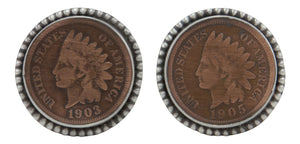 Navajo Native American Indian Head Penny Cuff Links by Willeto SKU231615