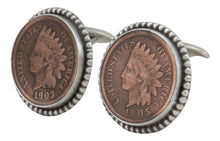 Load image into Gallery viewer, Navajo Native American Indian Head Penny Cuff Links by Willeto SKU231615