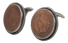 Load image into Gallery viewer, Navajo Native American Indian Head Penny Cuff Links by Willeto SKU231616