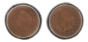 Navajo Native American Indian Head Penny Cuff Links by Willeto SKU231616