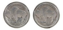 Load image into Gallery viewer, Navajo Native American Buffalo Nickel Cuff Links by Willeto SKU231618