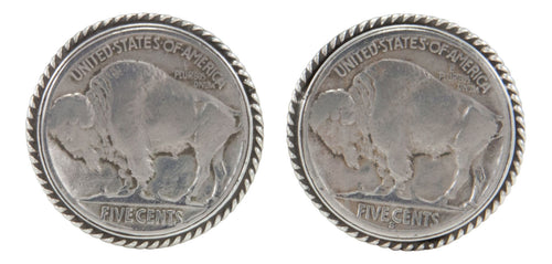 Navajo Native American Buffalo Nickel Cuff Links by Willeto SKU231618