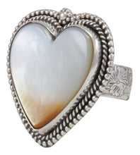 Load image into Gallery viewer, Navajo Native American Yellow Shell Heart Ring Size 9 by Willeto SKU231632