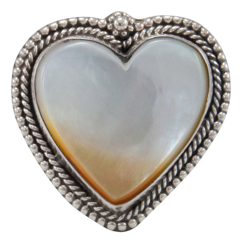 Navajo Native American Yellow Shell Heart Ring Size 9 by Willeto SKU231632