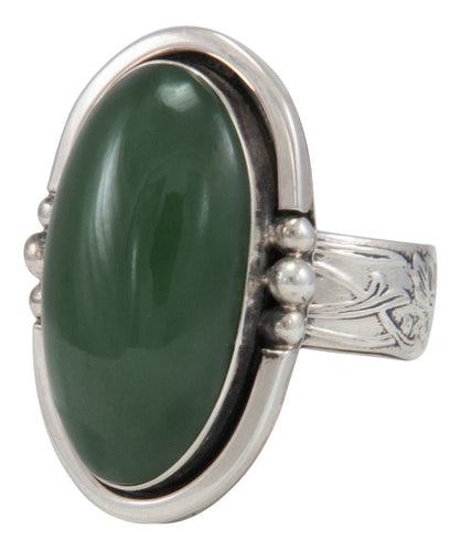 Navajo Native American Alaskan Jade Ring Size 9 1/2 by Willeto SKU231634