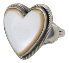 Load image into Gallery viewer, Navajo Native American Yellow Shell Heart Ring Size 6 by Richard Jim SKU231638