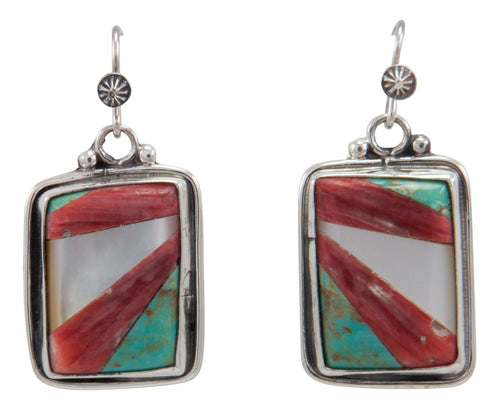 Navajo Native American Kingman Turquoise and Shell Earrings by Willeto SKU231648