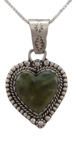 Navajo Native American Ricolite Heart Pendant Necklace by Martha Willeto SKU231655