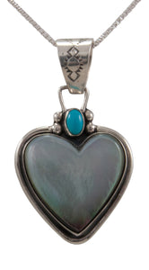 Navajo Native American Black Lip Mother of Pearl Pendant Necklace by Willeto SKU231662