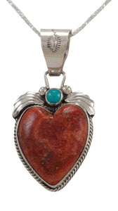 Navajo Native American Coral and Turquoise Heart Pendant Necklace by Martha Willeto SKU231665