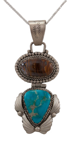 Navajo Native American Koroit Opal and Blue Gem Turquoise Pendant Necklace by Willeto SKU231666